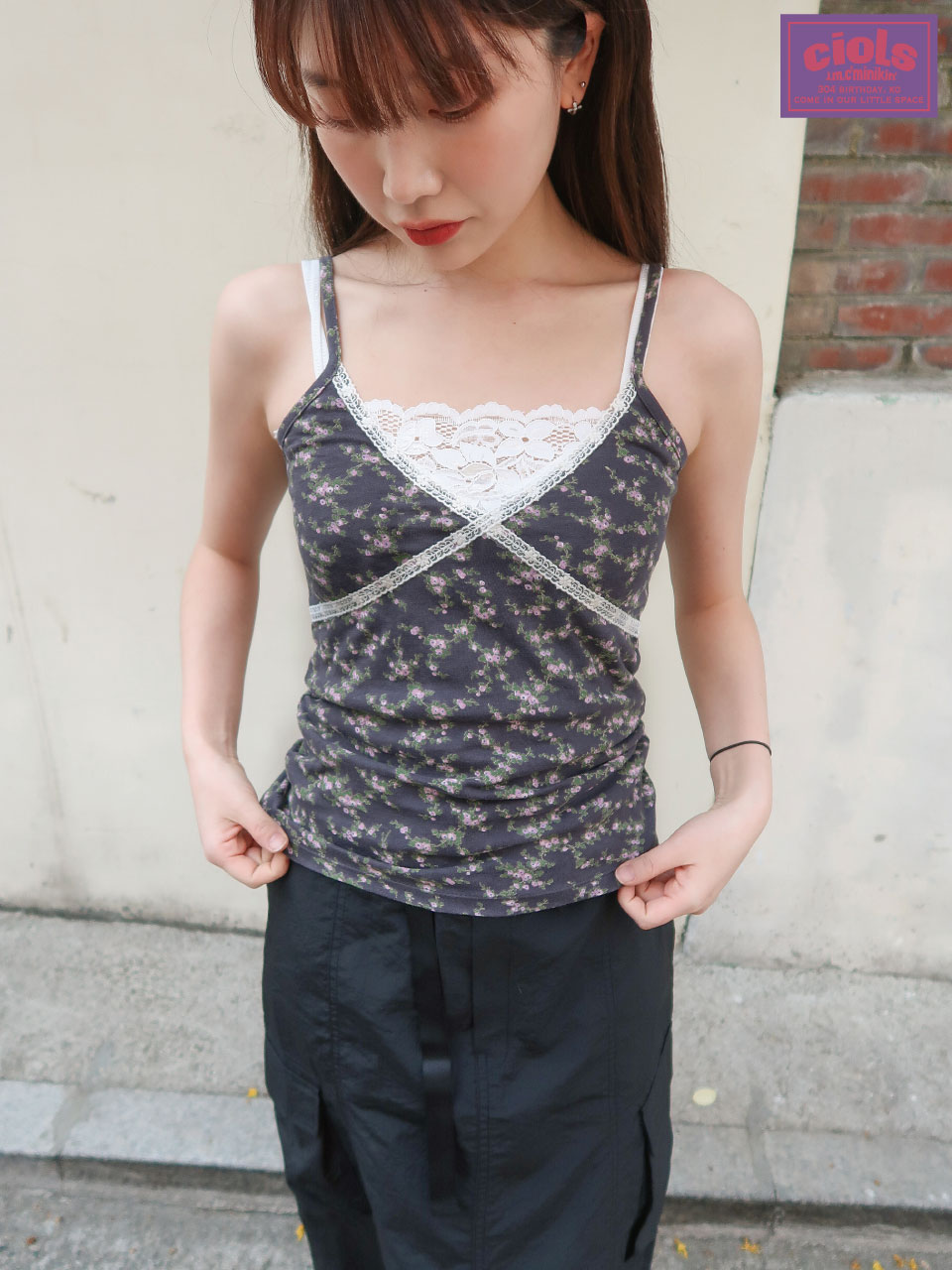 *BEST* 5차 재입고완료 / ciols made)Monica lace sleeveless_charcoal