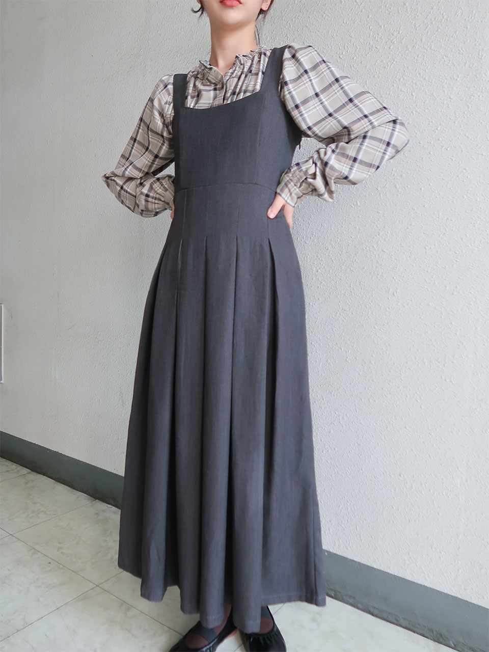 smocking pleats long dress(2color)
