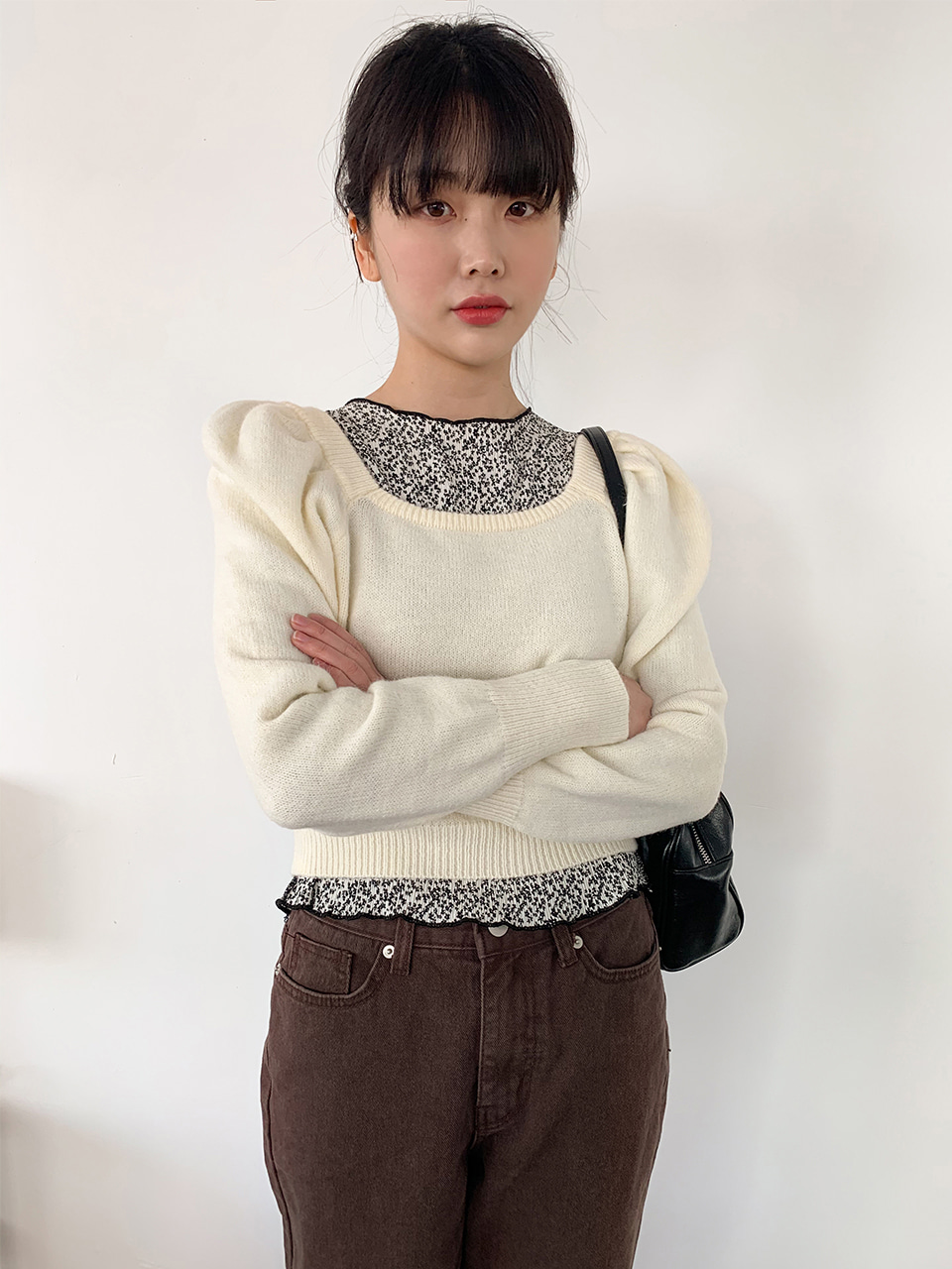 square puff crop knit(3color)