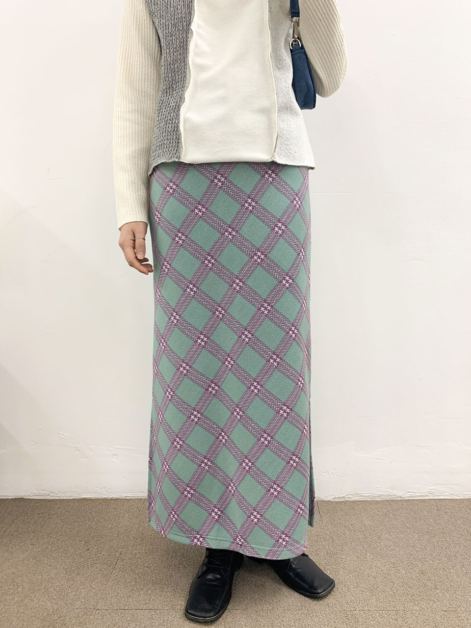 knit span check long skirt(2color)