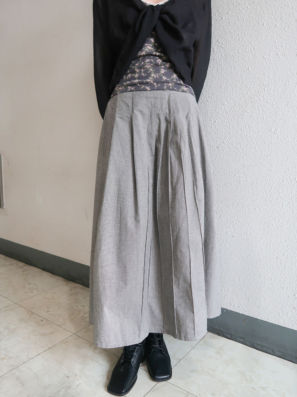 pin tuck check skirt(3color)