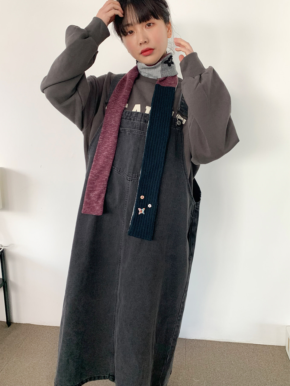 denim big overall dress(2color)
