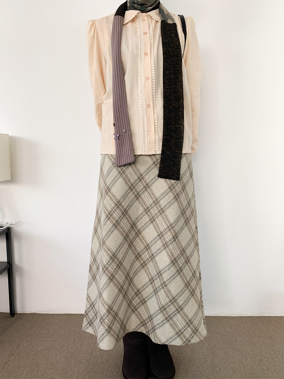 glen check wool skirt(2color)